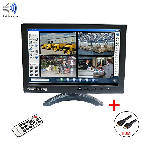 Sourcingbay IPS101 10'' IPS TFT LED CCTV Monitor with HDMI Cable and BNC Cable for DVR Camera PC - Built-in Speaker (Black) by Sourcingbay