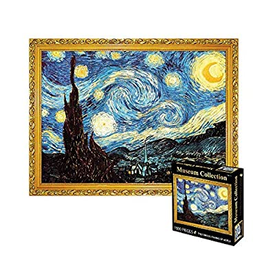 Adults Puzzle 1000 Piece Jigsaw Puzzle Starry Night, Thicker Paper Famous Art Painting Van Gogh Difficult Puzzle, Home Decor 70 x 50 cm: Toys & Games