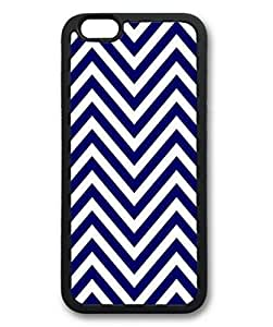 Case Cover For Apple Iphone 4/4S iCustomonline Blue And White Chevron Pattern Designs Case Cover For Apple Iphone 4/4S Hard Black