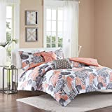 Intelligent Design Marie Comforter Set Full/Queen Size - Coral, Grey, Brushed Floral – 5 Piece Bed Sets – Ultra Soft Microfiber Teen Bedding for Girls Bedroom