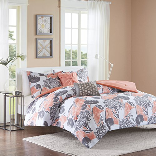 Intelligent Design ID10-732 Marie Comforter Set Full/Queen Coral (Navy Bedding And Blush)