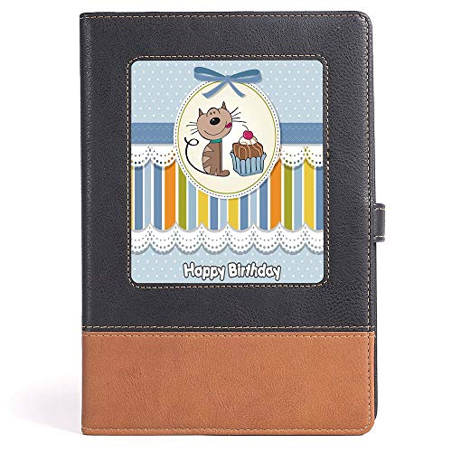 Thick Notebook/Journal - Birthday Decorations for Kids - College Ruled Notebook/Composition/Journals/Dairy/Office Note Books - Present Wrap Like Image Chocolate Cake Cat Party - 100 Ruled Sheets - ()