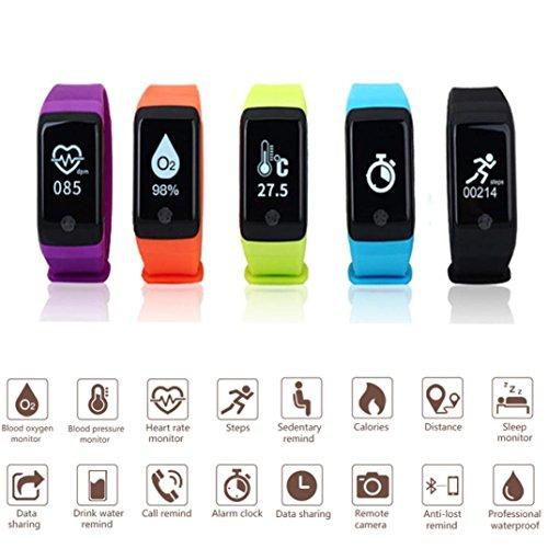 Digital Jelly Sport 5 (Fitness Trackers,Nacome Smart Bracelet Heart Rate Watch-Monitor Blood Oxygen Pressure Pedometer Bluetooth 3.0 Wireless Smart Watch (Black))
