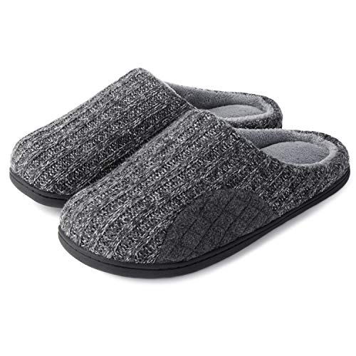 ULTRAIDEAS Men's Cashmere Cotton Knitted Slippers with Cozy Memory Foam and Fuzzy Coral Fleece Lining, Slip on Clog House Shoes with Anti-Skid Indoor Outdoor Rubber Sole, Grey, Size 11-12(Large)