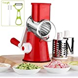Vegetable Mandoline Chopper, QT Manual Hand Speedy 3 Blades Vegetable Slicer, Fruit Cutter, Speedy Rotary Drum Grater Slicer with Strong-Hold Suction Cup (Red)