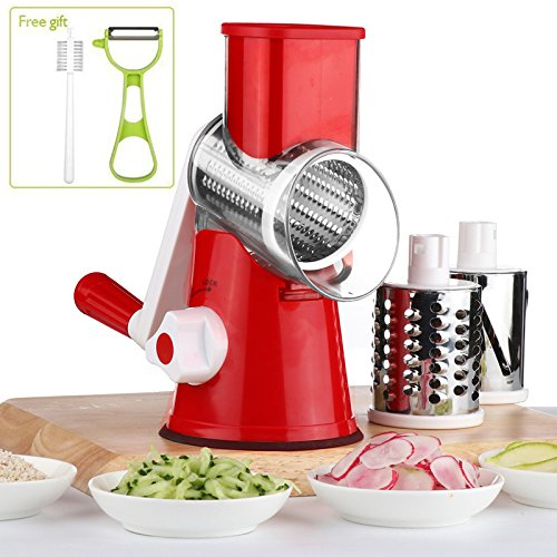 Vegetable Mandoline Chopper, QT Manual Hand Speedy 3 Blades Vegetable Slicer, Fruit Cutter, Speedy Rotary Drum Grater Slicer with Strong-Hold Suction Cup (Rotary Slicer)