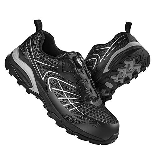 Arkeen Work Steel Toe Shoes Safety Shoes Lightweight Industrial Construction Shoe for Men Outdoor Hiking Shoes. Size is Too Large, Choose Half-Size Smaller Than Your Regular Size. Black