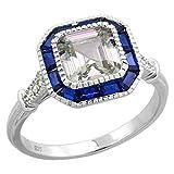 Sterling Silver Art Deco Ring Asscher-Cut CZ 7mm Synthetic Baguette Blue Sapphires 7/16 inch sizes 6 - 9