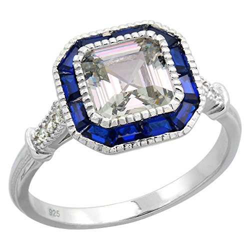 Sterling Silver Art Deco Ring Asscher-Cut CZ 7mm Synthetic Baguette Blue Sapphires 7/16 inch size (Asscher Cut Cz)