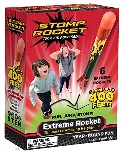 Stomp Rocket Extreme Rocket 6 Rockets - Outdoor Rocket Toy Gift for Boys and Girls- Comes with Toy Rocket Launcher - Ages 9 Years -