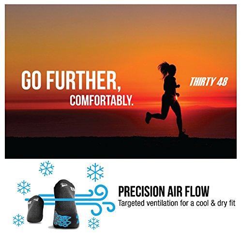 Thirty48 Running Socks Unisex, CoolMax Fabric Keeps Feet Cool & Dry, Gray/Gray, X-Large