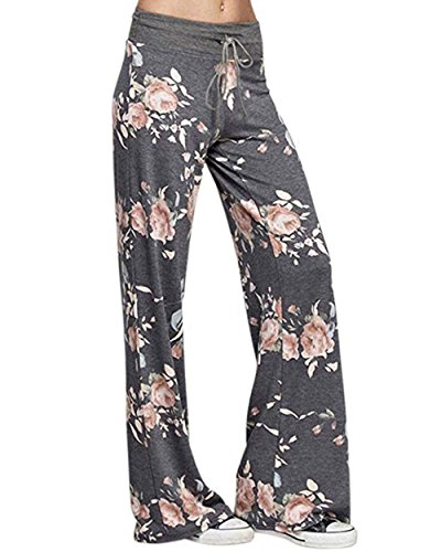 AceIce Women's Comfy Stretch Floral Print Lounge Pants Casual Drawstring Palazzo Pants Wide Leg Pajama Pants (Dark Grey, Tag XL= US 10) (Line Wide Waistband)