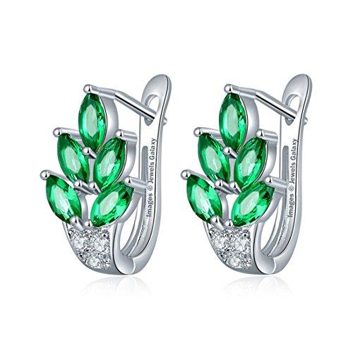 Shimmer Divine Glamorous Sparkling AAA Swiss Cubic Zirconia Leaf Designer Platinum Plated Splendid Earrings For Wedding/Party