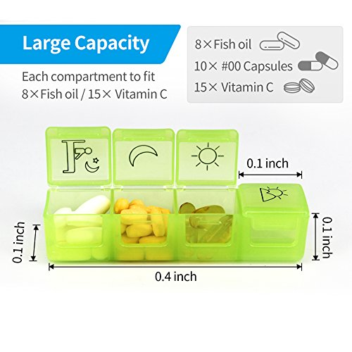 Pill Organizer, ZIKEE Weekly Pill Organizer(4-Times-A-Day), Pill Box for Pills/Vitamin / Fish Oil/Supplements by ZIKEE (Image #1)