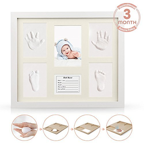 - Newborn Babyprints Mold Handprint Kit Footprint Kit Makers Keepsake Frames Baby Gifts Memorable Pictures Decorations for DIY Creative Room Wall (Wooden Frame + White Inkpad) Non Toxic Clay