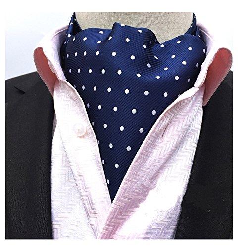 Secdtie Men's Blue Striped Polka Dot Silk Cravat Woven Ascot Jacquard Ties - For Men Shades Latest