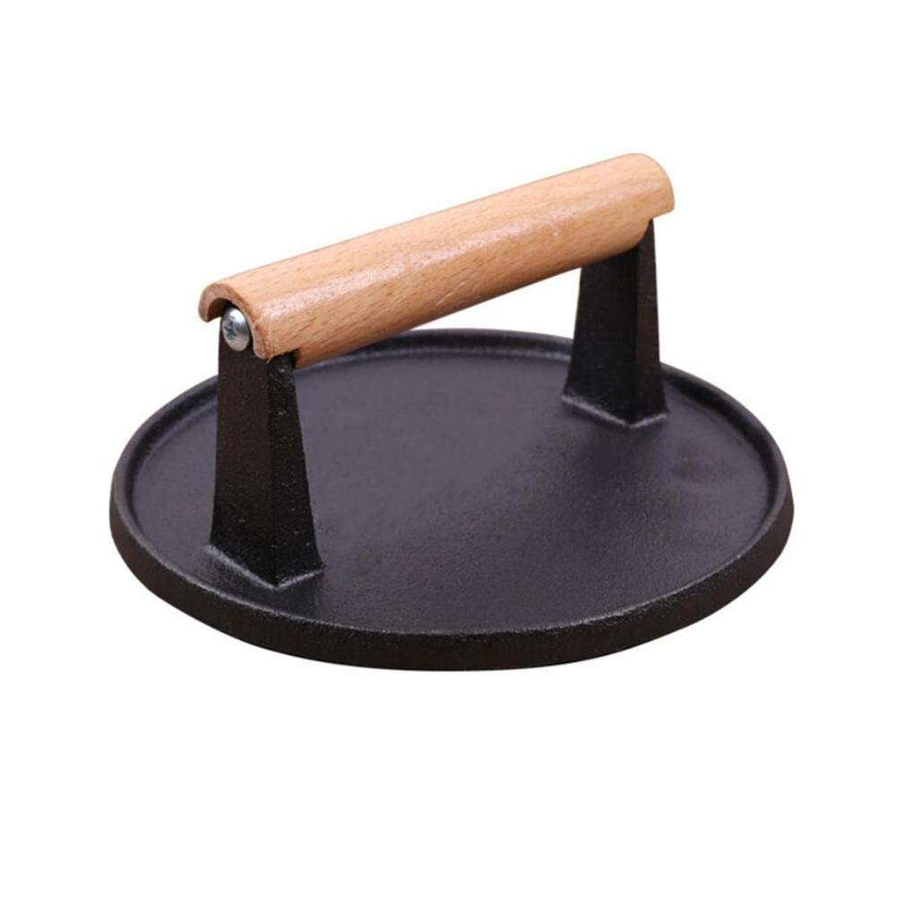 Childlike Cast Iron Grill//Bacon Press Round Shape with Wood Handle