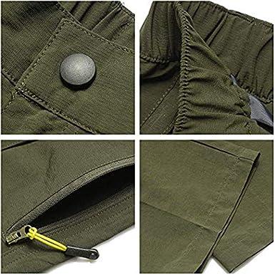 Ligeros Pantalones el/ásticos para Senderismo con Cremallera para Exteriores baisheng de Secado r/ápido