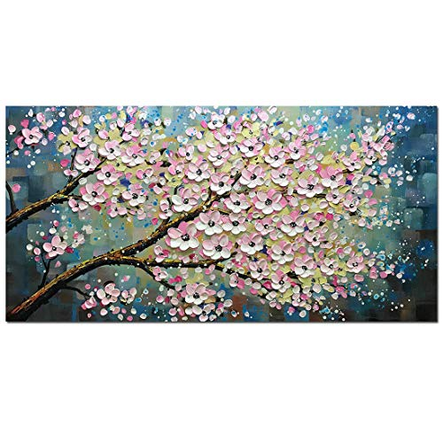 Painted Canvas Wall Hand Hangings - Fasdi-ART Oil Painting Landscape Flower 3D Hand-Painted On Canvas Abstract Artwork Art Wood Inside Framed Hanging Wall Decoration Abstract Painting (DF025, 24x48inch)