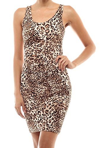Simply Savvy Co Slim Leopard Cheetah Animal Print Midi Dress Gown for Women - Leopard Print Dress Sexy