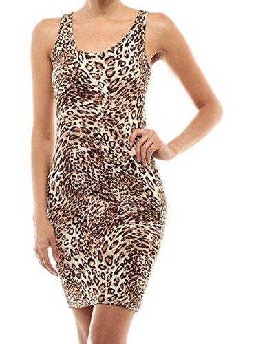 Simply Savvy Co Slim Leopard Cheetah Animal Print Midi Dress Gown for Women - Leopard Print Sexy Dress