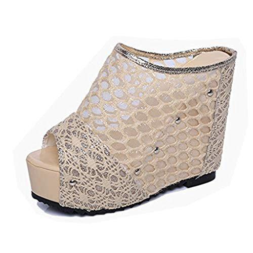 T-JULY Sexy Mesh Wedges Platform High Heel Sandals for Women Hollow Out Peep Toe Slides Pumps Shoes Beige