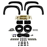 """Supreme Suspensions - Dodge 1500 Lift Kit 2WD 4X2 Front 3"""" and 1"""" Rear Suspension High CNC Billet Leveling Lift Kit + 4pc Front and Rear Bolt-on Rivet Style Textured Fender Flares"""
