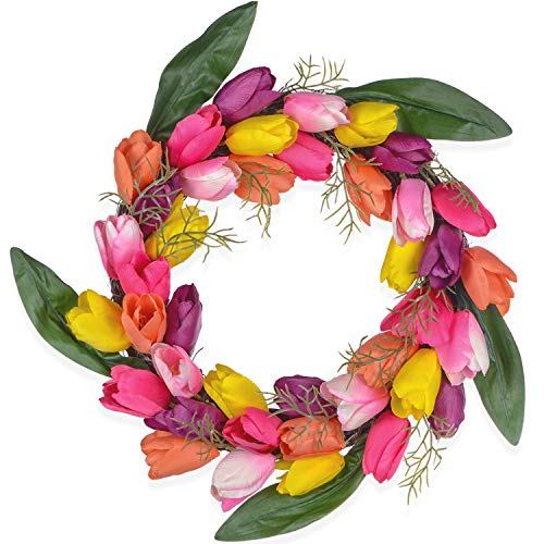 DearHouse Artificial Tulip Flower Wreath, 13 Inch Colorful Silk Tulips Front Door Wreath with Green Leaves Decor for Home Wall Wedding -