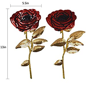 Felice Spring Blooming Red Rose Sequins Sew on or Iron on Embroidered Applique Patch Pack of 2
