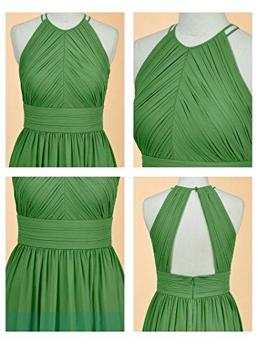 Alicepub Robe De Bal Robe De Demoiselle D'honneur En Mousseline De Soie Plissée Longue Vert Menthe Sans Manches Robe De Soirée