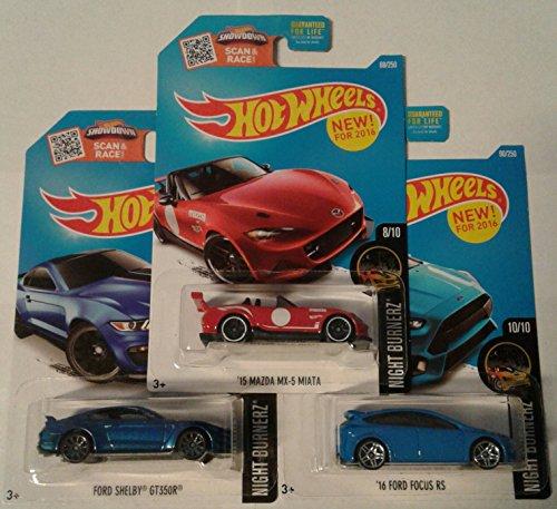 2016 Hot Wheels Night Burnerz 3 Car Bundle Set of '15 MAZDA MX-5 MIATA (red) 88/250 '16 FORD FOCUS RS (blue) 90/250 FORD SHELBY GT350R (blue) ()
