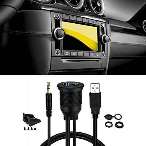FidgetGear USB 3.0/&3.5mm Flush Mount Dash Extension Cable Black 1M One Size