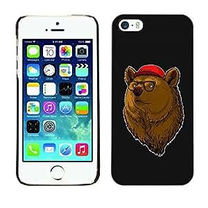 YiPhone /// Prima de resorte delgada de la cubierta del caso de Shell Armor - Cool Hipster Bear - Apple iPhone 5 / 5S