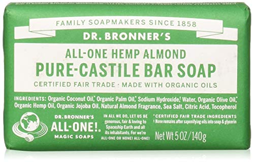 Dr. Bronner's - Pure-Castile Bar Soap (Almond, 5 ounce) - Made with Organic Oils, For Face, Body and Hair, Gentle and Moisturizing, Biodegradable, Vegan, Cruelty-free, Non-GMO Almond Organic Bar Soap