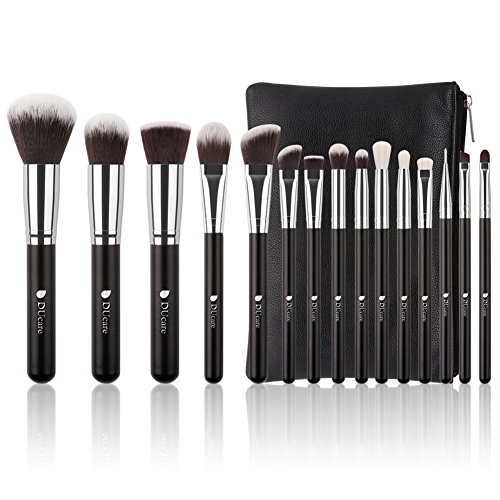 DUcare Makeup Brushes 15 Piece Makeup Brushes Set Premium Synthetic Goat Hairs Kabuki Brushes Foundation Blending Blush Face Eyeliner Shadow Brow Concealer Lip Cosmetic Brushes Kit with Cosmetic Bag by DUcare