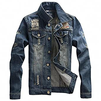 Mens Denim Jacket Stand Collar Four Season Casual Solid Chaquetas Hombre M-3XL Size MWJ1247