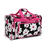 Snowflake Designs Black with White Flowers Duffel Bag