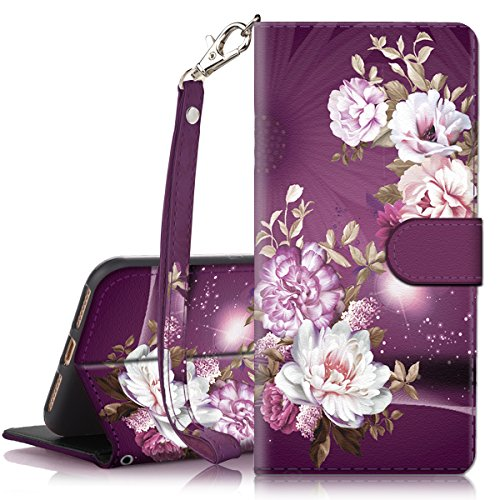 iPhone Xs Max Case, Hocase PU Leather Full Body Protective Wallet Case with Credit Card Holders, Wrist Strap, Magnetic Closure for iPhone Xs Max 2018 with 6.5-inch Display - Burgundy Flowers
