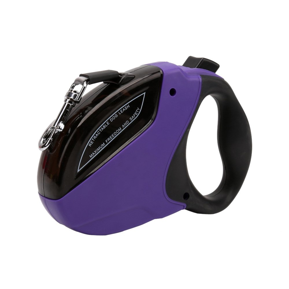 High Quality Retractable Dog Leash for Small and Medium Dogs up to 40lbs Purple 15ft Nylon Ribbon