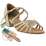 Women's Ballroom Dance Shoes Salsa Latin Practice Dance Shoes Tan Leather 1670cEB Comfortable - Very Fine 1.5'' Heel 7 M US [Bundle of 5]