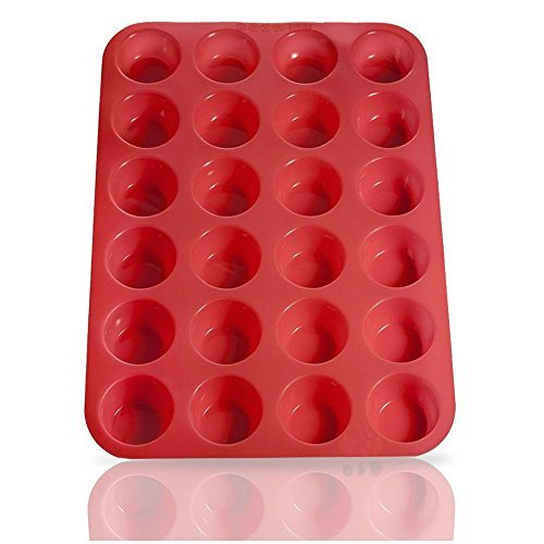 MJBAKERS Mini Muffin Pan- 24 Cups Premium Perfect Portion Control Baking Pans- Non Stick Food Grade Siicone Mold Versatile Heat Resistant Bakeware - Dishwasher, Oven & Freezer Safe- Red