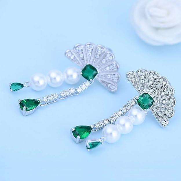 CS-DB 9K Solid Gold Filled Emerald Green CZ Water Drop Dangle Earrings