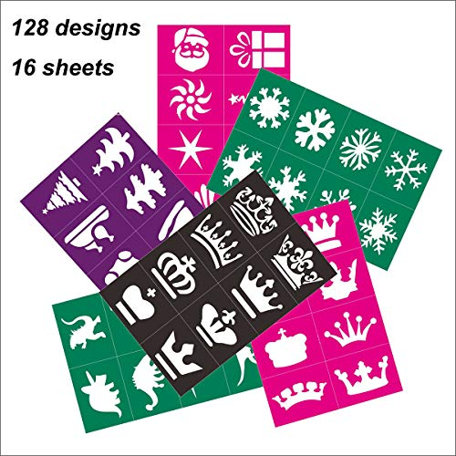 Face Body Paint Stencils Tattoo Stencils Reusable Adhesive Stencils for Henna Cone,Glitter,Airbrush and Perfect for Christmas, Halloween, Carnivals, Parties, School & Church Event(16 -