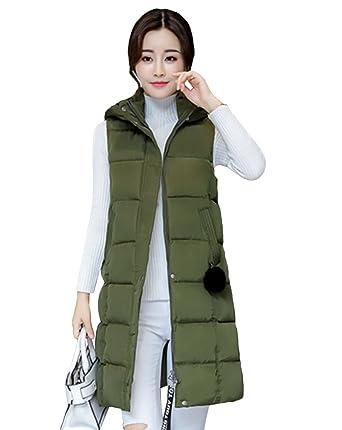 17f902fe233960 Yiiquan Damen Lang Warm Steppweste Plus Size Jacke Outwear Winter Weste  Kapuze: Amazon.de: Bekleidung