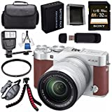 Fujifilm X-A3 Digital Camera w/16-50mm Lens (Brown) 16531647 + NP-W126 Lithium Ion Battery + 32GB SDHC Card + Carrying Case + Tripod + Flash + Card Reader + Memory Card Wallet Bundle