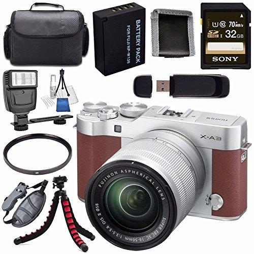 Fujifilm X-A3 Digital Camera w/16-50mm Lens (Brown) 16531647 + NP-W126 Lithium Ion Battery + 32GB SDHC Card + Carrying Case + Tripod + Flash + Card Reader + Memory Card Wallet Bundle