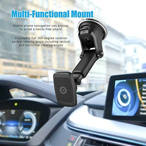 07004499073817 Magnetic Phone Car Mount, WizGear Universal Magnetic Car Mount Holder, Windshield  Mount and Dashboard Mount Holder for Cell Phones and Tablets with Long Arm  ...