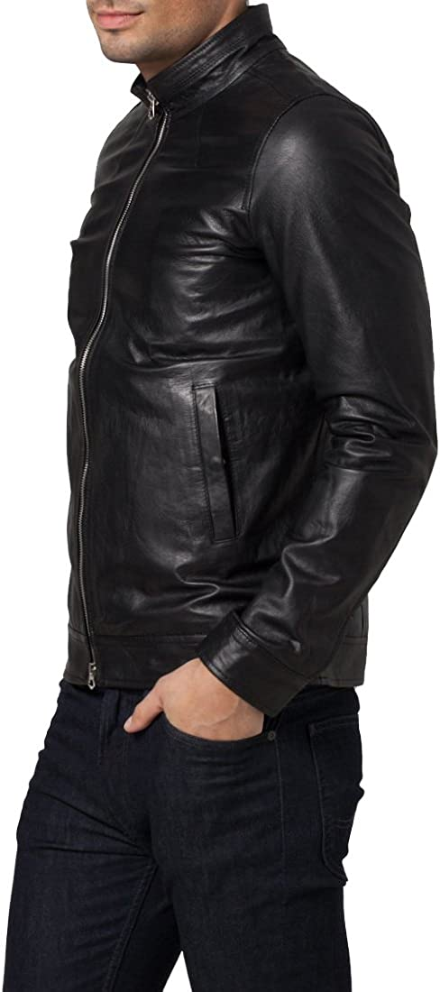Kingdom Leather New Mens Genuine Lambskin Leather Slim Fit Biker Motorcycle Jacket for Men X344