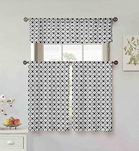 Vera Neumann Oralie Floral Trellis Printed Kitchen Tier & Valance Set | Small Window Curtain for Cafe, Bath, Laundry, Bedroom ()