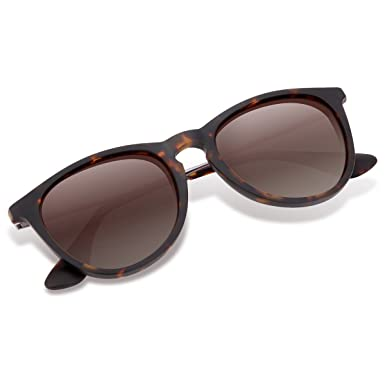 3c9be11100 Polarized Wayfarer Sunglasses, Round Shades for Women by Wenlenie Tortoise  Frame Brown Lens
